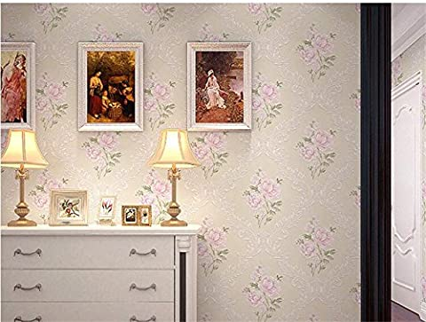 Xzzj Landhausstil Vlies Tapete Schlafzimmer Stereoskopischen 3D-Tapeten, Gelb Toner Blume