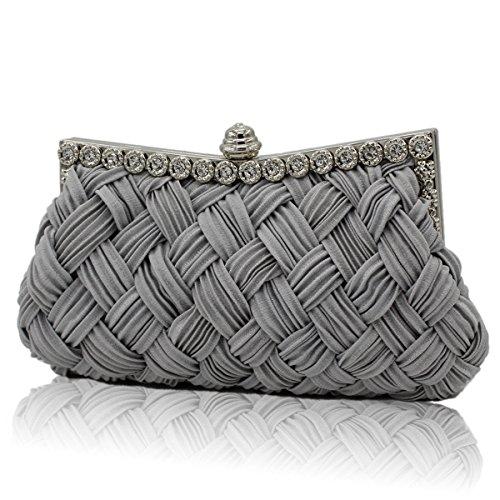 Frauen Mode Satin Kreuz Abend Kupplung Geldbeutel Strass Tasche Gray