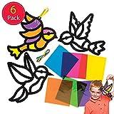 Baker Ross Lot de 6 Forme d'oiseau avec Effet Verre coloré pour décoration de Printemps, AW299, Couleurs Assorties