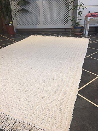 Natural suave algodón crema mano tejidas flecos de alfombra de grosor 120cm x 180cm
