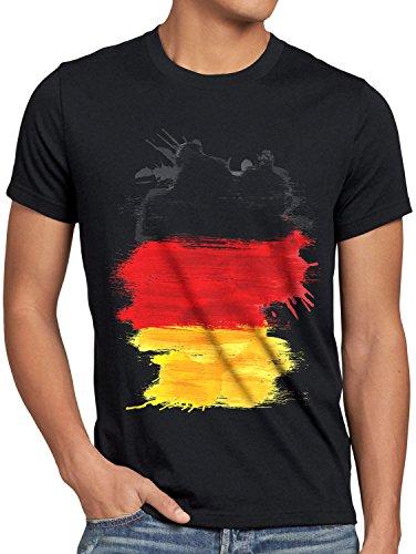 CottonCloud Flagge Deutschland Herren T-Shirt Fußball Sport Germany WM EM Fahne, Größe:M, Farbe:Schwarz
