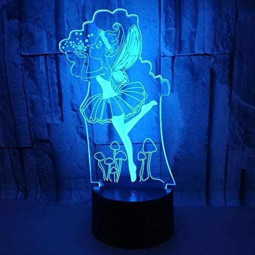 3D Optical Illusion Lampe 7 Farben Usb Touch Schalter Nachtlicht Ballett Geburtstag Valentinstag Schlarfzimmer Dekoration Für Kinder Kinder Weihnachts Geschenk