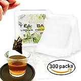 300 Packs Bustine da Tè in Tessuto Monouso Infusore per Tè e Tisane Usa e Getta Confezione Eco Bio (5.5 * 7 cm) alta qualità - LIMMUS France, bianco, 5,5x7cm