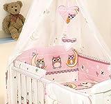 PRO COSMO 10 Pcs juego de ropa de cama para cuna de bebé cama edredón, dosel + soporte (para cuna 120x60cm, 1 Búhos rosados)