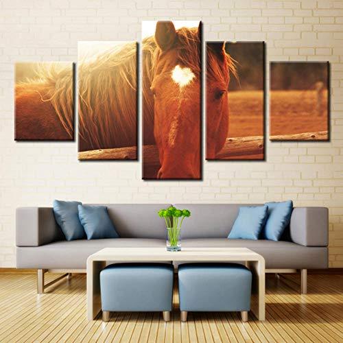 ZZHPlanet Wunderbar Moderne Leinwand Home Art Wand HD Bild 5 Panel Thema Pferd Pfirsich Herz Liebe Sonnenschein Grasland Drucke Wohnzimmer Dekoration -