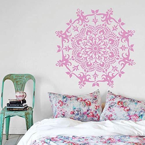 JJHR Wandtattoos Wandaufkleber Wohnkultur Mandala Blume Wandtattoo Kunst Yoga Kreis Ornament Muster Wandaufkleber Schlafzimmer Dekor Wandbild 55 * 55 cm, C -