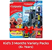Colgate Kids Oral Care Variety Pack (for 6+ Years) – Motu-Patlu and Batman (Bubble Fruit) Toothpaste, 80g each