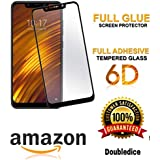 Poco F1 Tempered Glass Screen Protector Screen Guard Tempered Glass Edge To Edge With Installation Kit For Doubledicestore (Black)