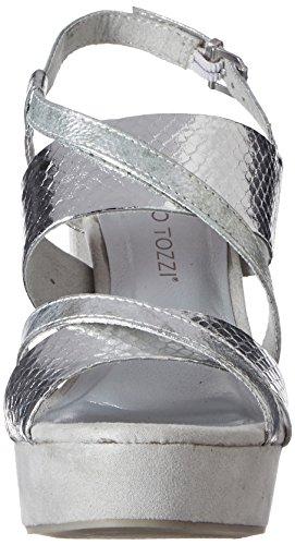 Marco Tozzi 28319, Sandales Bout Ouvert Femme Argent (Silver Met.com 939)