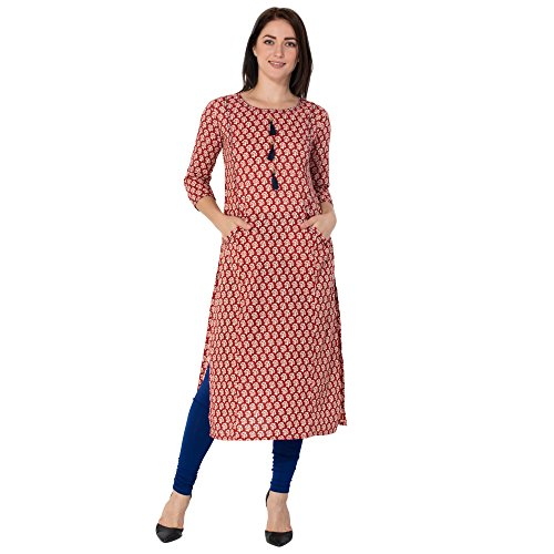 Gulmohar Jaipur Red Color Cotton Round Neck Straight Women's Kurti