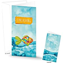 15 Einladungskarten Maritim Regenbogen Fisch Text EINLADUNG Blau Türkis  Orange Pink Rot Grün Mit Kuvert