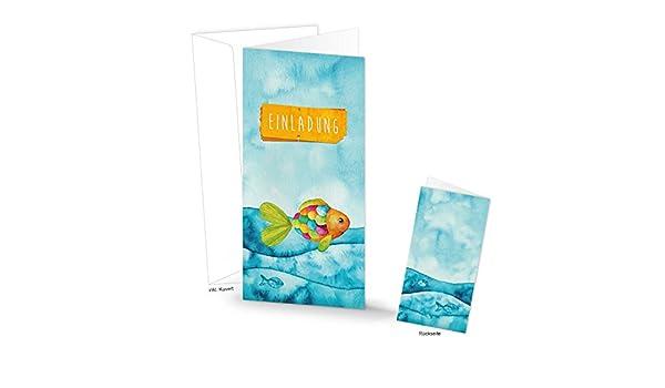 Amazon.de: 15 Einladungskarten maritim Regenbogen Fisch Text ...