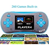 """QIGNSHE 2.5"""" LCD Classic Portable Handheld Game Console With Speaker 260 In 1 Games-Blue"""