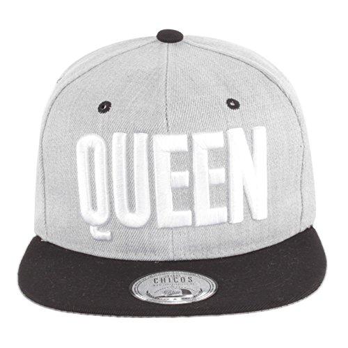 *Johnny Chicos Snapback KING & QUEEN Verschiedene Modelle Grau Schwarz Damen Herren Top, Größe:One Size;Farbe:QUEEN Grey White*