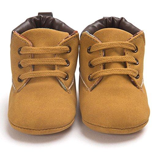 Ularma Babyschuhe Weiche Sohle Warm Anti-Rutsch Lederschuhe für Baby Jungen Mädchen in Mehre Farben (12, Beige) Khaki1
