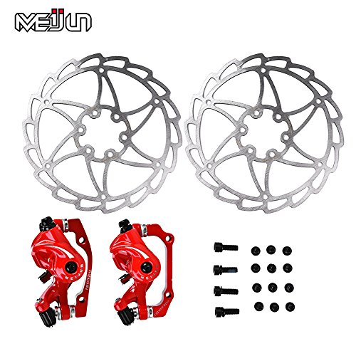 Frenos de disco de bicicleta de montaña Freno de bicicleta hidraulico 1 par, juego de frenos hidráulicos Juego de frenos de disco de aleación de aluminio MTB bicicleta de carretera Disco de freno mecá(rojo)