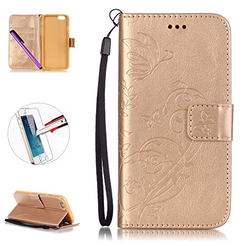 Custodia Iphone 7, 7g-Custodia in pelle a portafoglio cover, il iPhone 7g Slim Fit Tasca Custodia Supporto per Card Holder ID/contanti/Card Slot + 1Pellicola proteggi schermo + 1pennino touch.