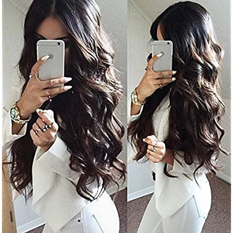 Helene Hair 2016 Verano Moda Peinado suelta la onda Peluca Brasileño Virgen Cabello Humano Cabello frente del cordón Pelucas con el pelo del bebé para Mujer 180% Densidad ( 24 Pulgada