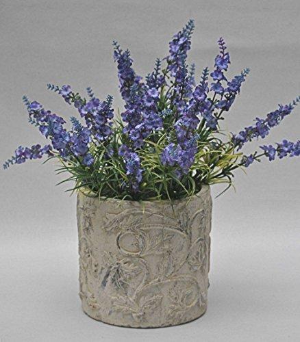Übertopf, Blumentopf Keramik Landhaus, creme mit floralen Ornamenten Ø 16 cm, H 15,5 cm