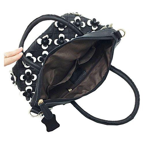 Zongsi Mode Damen Echts Leder Umhängetasche, Bunt Blumen Klein Crossbody Handtaschen Schultertaschen(Mehrfarbige) Weiß
