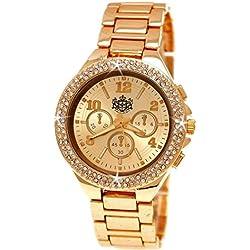 Elegante LYDC London® designer Strass Chronograph Optik Damenuhr in Rose Gold Damen Uhr inkl.Uhrenbox
