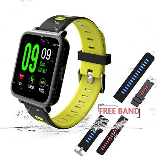 Navtour Bluetooth 4.0 Smartwatch mit 2 kostenlosen Ersatzbänder Fitness Armband Wasserdicht IP68,Herzfrequenzmesser,Schlaf-Monitor,Schrittzähler,SMS/Anruf Erinnerung,Fitness Tracker für Android ios