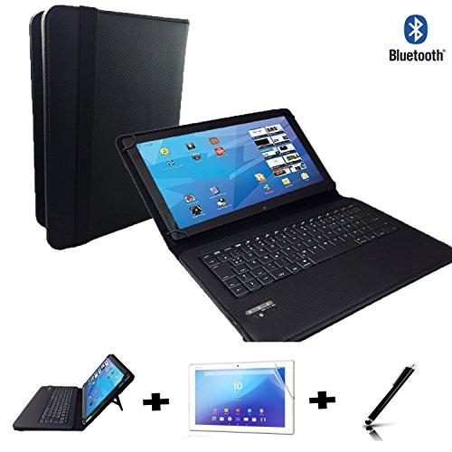 3er Starter Set für Asus ZenPad 3 8.0 Z581KL (7.9) Deutsche Bluetooth Tastatur Tasche + Touch Pen + Schutzfolie - 7 Zoll Schwarz Bluetooth 3in1
