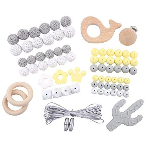 baby tete Bracelet de Dentition Bébé Pendentif Ensemble de Jouets Montessori Attaches Tétines Factices Perles Bricolées au Crochet Silicone non Finies Jouet de Dentition