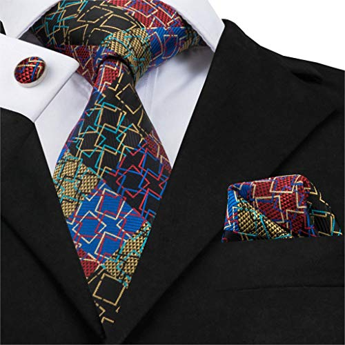 HYCZJH Silk Mens Suit Tie Set for Men Necktie Square Cuffilinks Classic Novelty Geometric Geometric Silk Tie