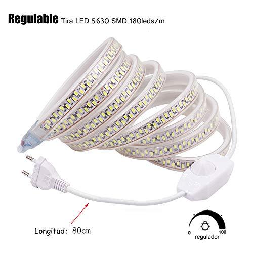 XUNATA 4m Regulable Tira LED, 5630 SMD 180leds/m, IP67 Impermeable, 220V Escalera de Techo Blancas Tira de LED Cocina Cable Luces Blanco calido