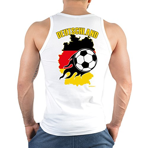 Herren TankTop ::: Deutschland - Fußball ::: mit Motiv auf der Rückseite Weiß