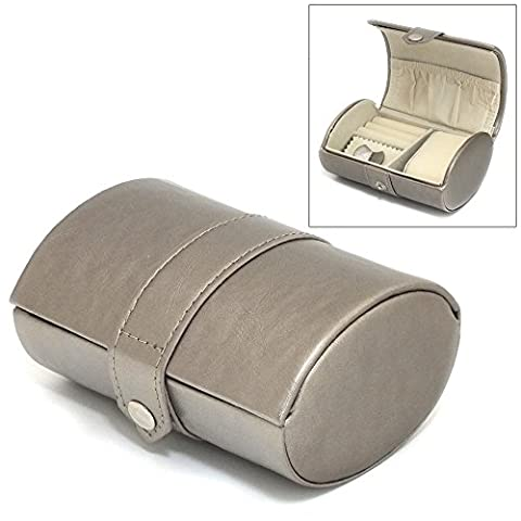 Metallic Mink PU Leather Barrel Style Travel Jewellery Box Carry Case - 1 Space Watch box