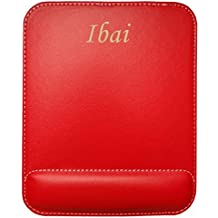 Tapis de souris en cuir artificiel avec le texte: Ibai (Noms/Prénoms)