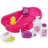 Puppen Badewanne 32 cm mit Zubehör wie Seifenspender, Creme: Puppe Baby Zubehör Puppenwanne Pink für New Born Baby etc.