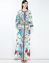 RENQINGLIN Womens Parte Cute Boho Vestido Largo Suelto Plus Size,Básica Floral Con Cuello Redondo