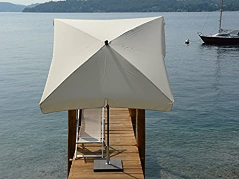 Maffei Art 115q NOVARA square parasol cm 200x200, polyester fabric, anthracite steel frame mm27/30, 4 paragon ribs. Made in Italy. Colour cream
