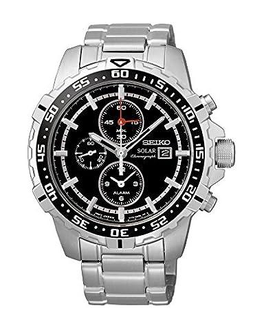 Seiko - SSC299P1 - Solar - Montre Homme - Automatique Chronographe - Cadran Noir - Bracelet Acier Gris
