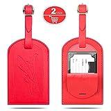 Kofferanhänger, Gvoo 1 Paar 2 Stück Reise Gepäckanhänger Taschenanhänger Luggage Tag Gegen Verloren aus Leder (Rot+Rot)
