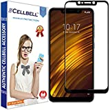 CELLBELL® Xiaomi Poco F1(Full Glue)(Edge To Edge)(Black) Tempered Glass Screen Protector With Free Installation Kit