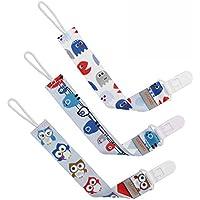 GAGAKU 3 Pack Chupete Cadenas Mordedor con Soporte Universal de Chupete Clip Soporte Para Niñas y Niños