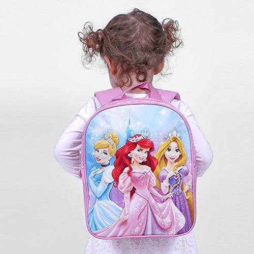 Prix Petit Sac à Dos Fille Princesses Disney – Cartable Scolaire avec Ariel Cendrillon Raiponce – Sac d'école pour Le Jardin d'enfants – Rose – 31x25x10cm – Perletti