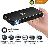 Mokiro Mini Vidéoprojecteur de poche, Toumei C800,portable,WIFI,Android 7.1, pour iPhone /Android /PC /Airplay/Miracast, HDMI ,Bluetooth 4.0 ,avec Correction Automatique pour cinéma maison/ les jeux /travail /étude