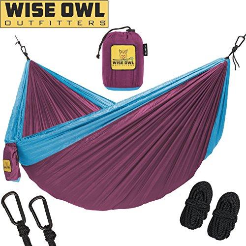 Wise Owl Outfitters Hängematte - Einzel- Und Doppel Camping Hängematten - - Tragbares Leichtes Fallschirm Nylon. DoppeltOwl DO Fuchsia Und Himmel Blau