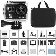 Action Kamera, bedee 4k wifi Sports Actioncam Ultra HD Unterwasserkamera 16MP Helmkamera Built-in Mic mit 2.0 Zoll Touch LCD Bildschirm, 98ft Wasserdicht, Schwarz Transporttasche und Zubehör für Tauchen, Motorrad, Fahrrad fahren, Schwimmen, Wandern Action Cam