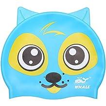 Ballena® cap-1600100% silicona divertido Animal Light Soft gorro de natación duradero diseño dibujos animados Niños Gorro De Natación De Silicona Forma de Animales para Niños y Niñas de 3–15años