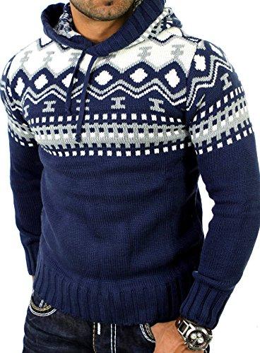 Reslad Norweger Pullover Herren Winterpullover Kapuzenpullover | Strickpullover für Männer RS-3013