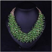 Hamer - Collar para mujer, diseño con cristales, chapado en oro, aspecto de hierba, color verde