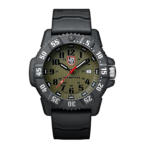 Luminox Carbon SEAL  Men's Quartz watch with Green dial featuring LLT Luminox light Technology 46 millimeters Carbon Compound case and Grey Rubber Strap  XS.3813