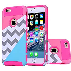 iphone 6 case,BAISRKE[2in1] Heavy Duty Hybrid Hard Case for Apple Iphone 6, 6s, 6g, 6th Generation,Powder Blue Mint Teal and Coral Pink Split Chevron Design Cover (Rose Silicone Shell)