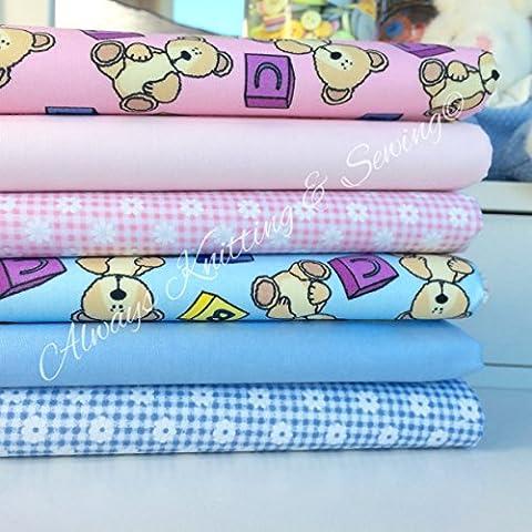 Siempre hacer punto y costura de retales de polialgodón Fat - Florals, para niños, bebé telas 20 x 55,88 cm 6 rosa y azul de oso con tarta de suavidad y